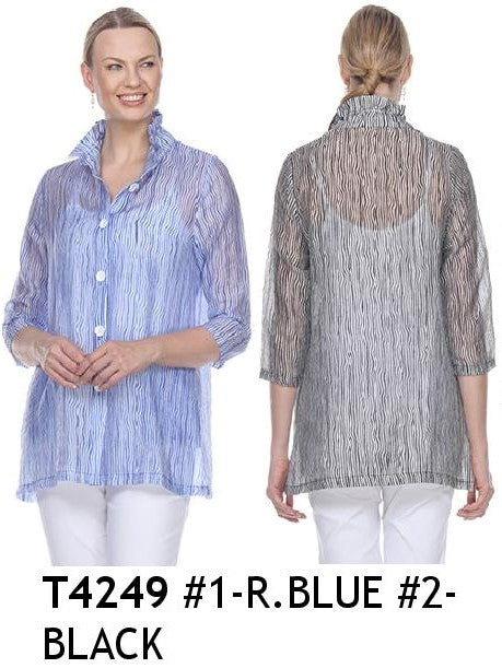 TERRA-SJ PULL OVER BLOUSE CONVERTIBLE COLLAR T4249