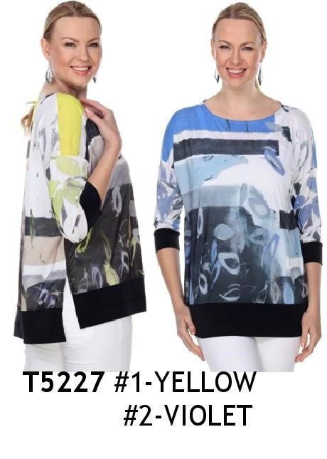 TERRA-SJ PULL OVER BLOUSE CONVERTIBLE COLLAR T5227
