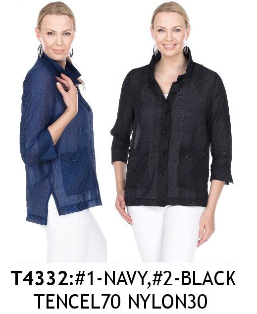 TERRA-SJ PULL OVER BLOUSE CONVERTIBLE COLLAR T4332