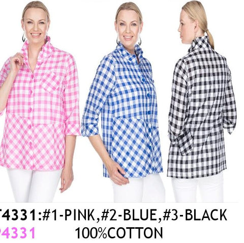 TERRA-SJ PULL OVER BLOUSE CONVERTIBLE COLLAR T4331