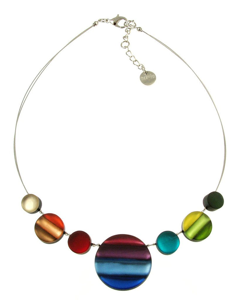 Resin & Shell Silver Jewelry Necklace 212-4