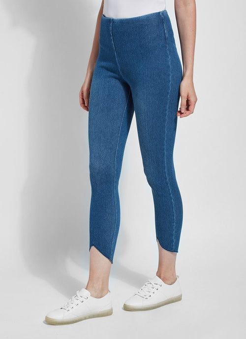 LYSSE SCALLOP EDGE DENIM LEGGING 12-2478-M9 - MID WASH
