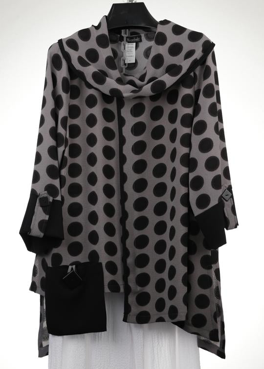 MOONLIGHT BLACK GREY POLKA DOT TUNIC TOP 2560POK