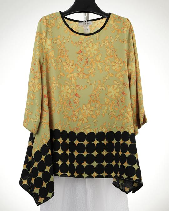 MOONLIGHT GOLD FLOWER PRINT SWING TUNIC TOP 2653