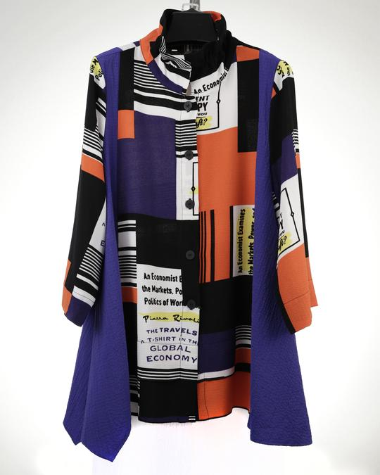 MOONLIGHT MULTI COLOR PRINT LONG SWING JACKET 2991