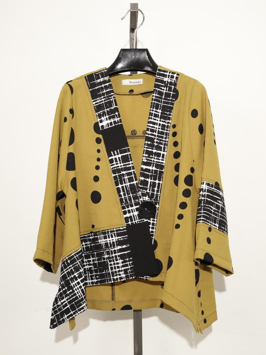 MOONLIGHT BLACK MUSTARD DOTS ONE BUTTON KIMONO JACKET 2867