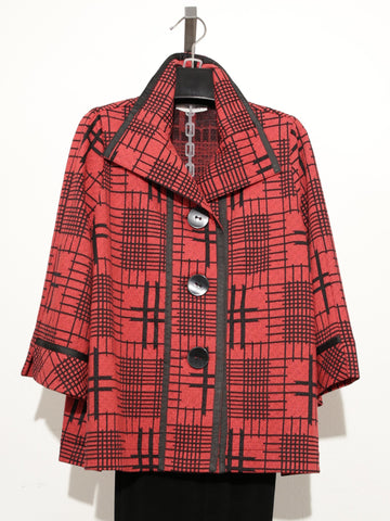MOONLIGHT RED BLACK COLLARED BUTTON DOWN JACKET 2873