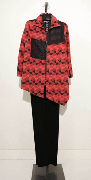 MOONLIGHT RED BLACK ZIPPER TUNIC JACKET 2914