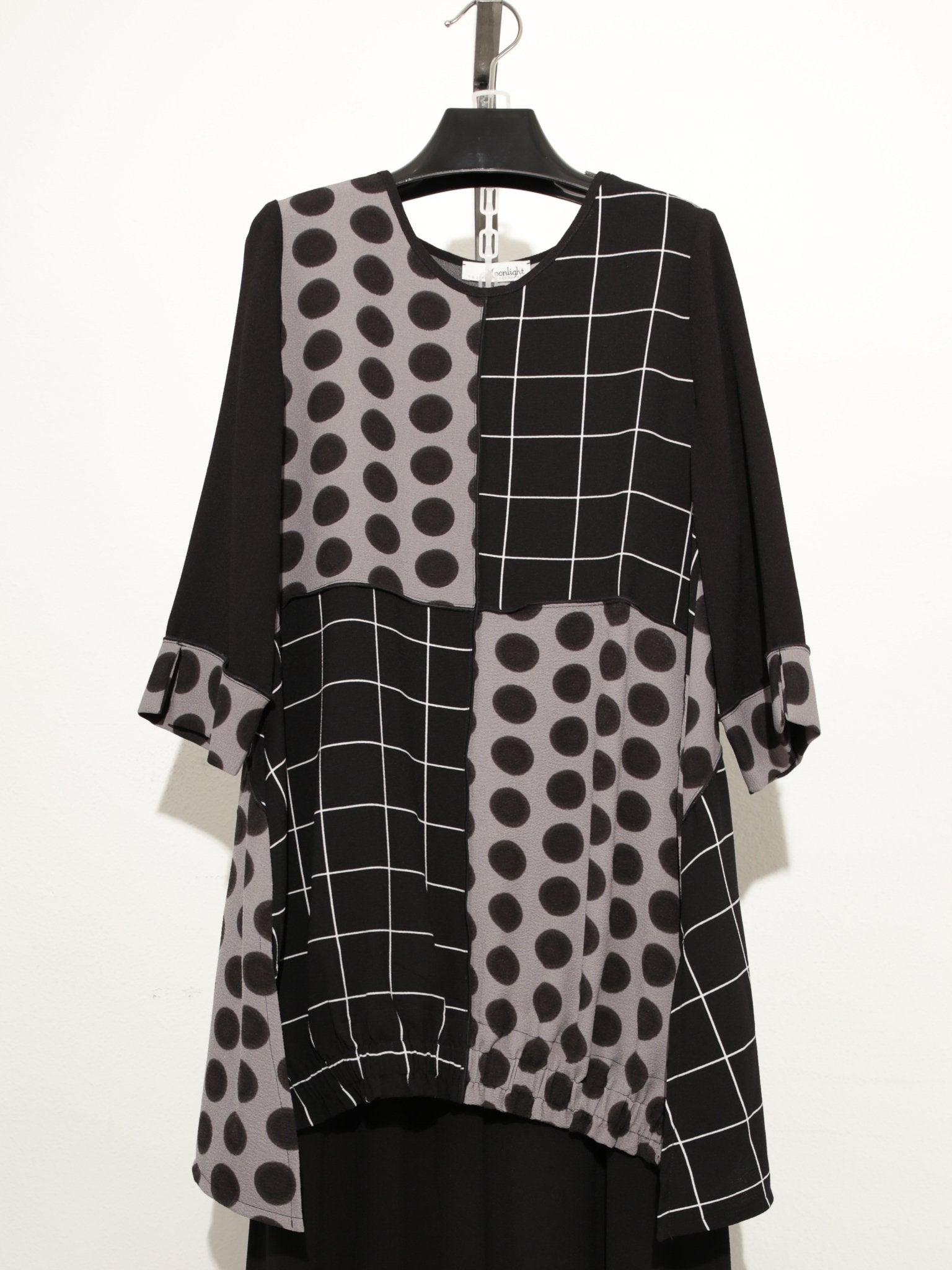 MOONLIGHT BLACK POLKA DOT TUNIC TOP 2926