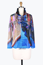 DAMEE NYC VENICE PRINT MESH TWIN SET JACKET 31394-BLU