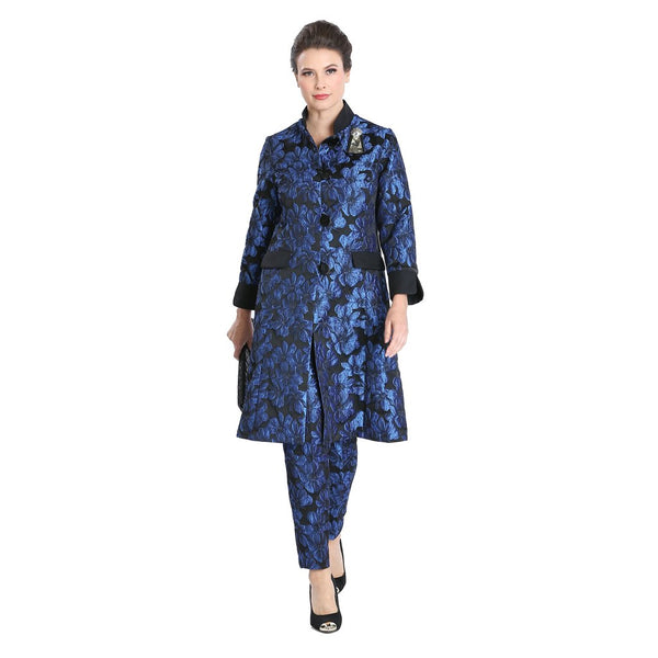IC Collection Jacquard Button Front Jacket in Blue Black 3149J