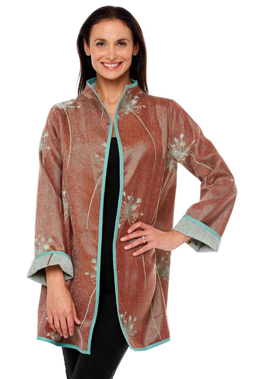 Winding River Reversible Artisan jacket: Green Floral Swing Coat
