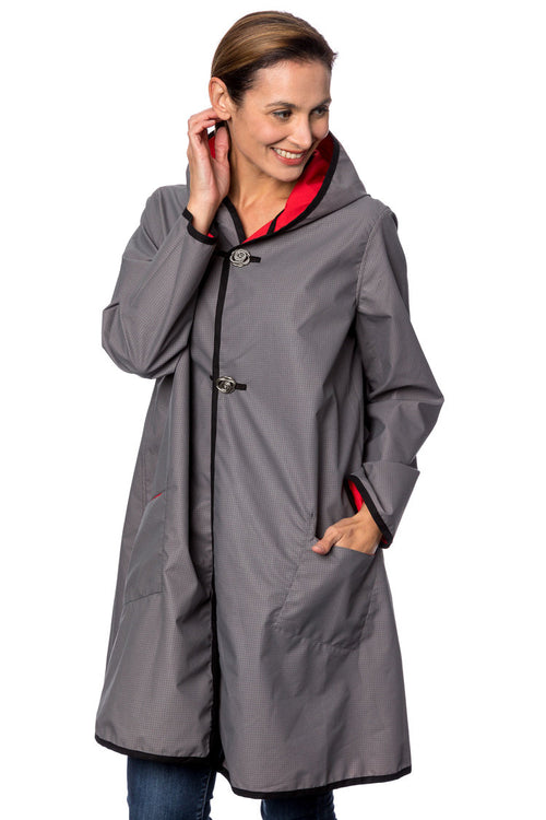 Winding River Reversible Hooded Raincoat: Fire red SKU: 375-992