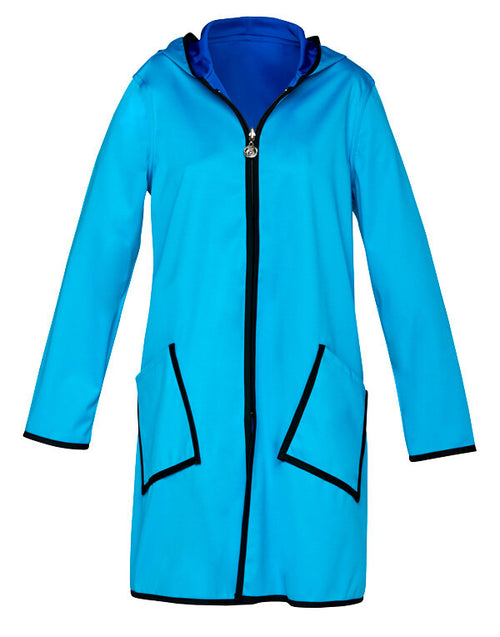 Winding River Reversible Hooded Raincoat: Harbor Blue SKU: 377-1062