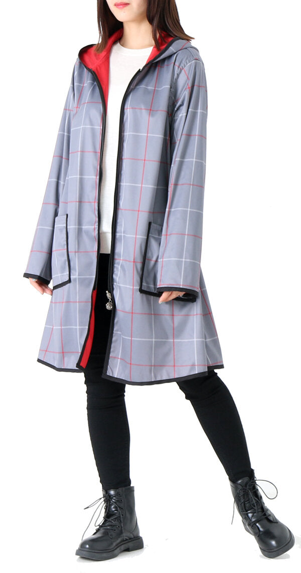Winding River Reversible Hooded Raincoat: Plaid collection SKU: 379-687