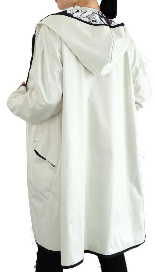 Winding River Reversible Hooded Raincoat: Lotus collection  White SKU: SKU: 379-702