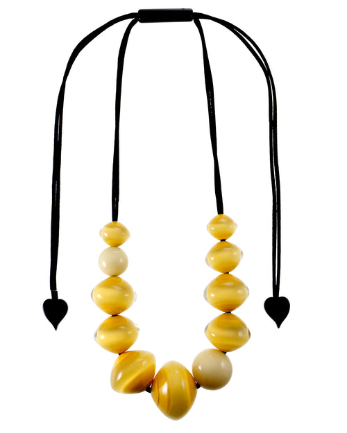 Zsiska MALAI: 1 bead short hook ear rings, yellow