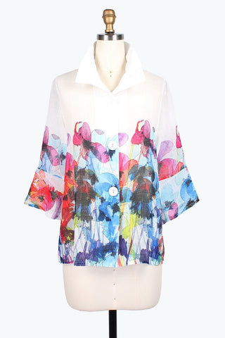 DAMEE NYC WATERCOLOR FLOWER LINEN SHORT JACKET 4614-WHT