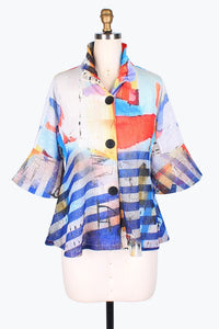 DAMEE NYC ABSTRACT VILLAGE SHORT JACKET 4628-BLU