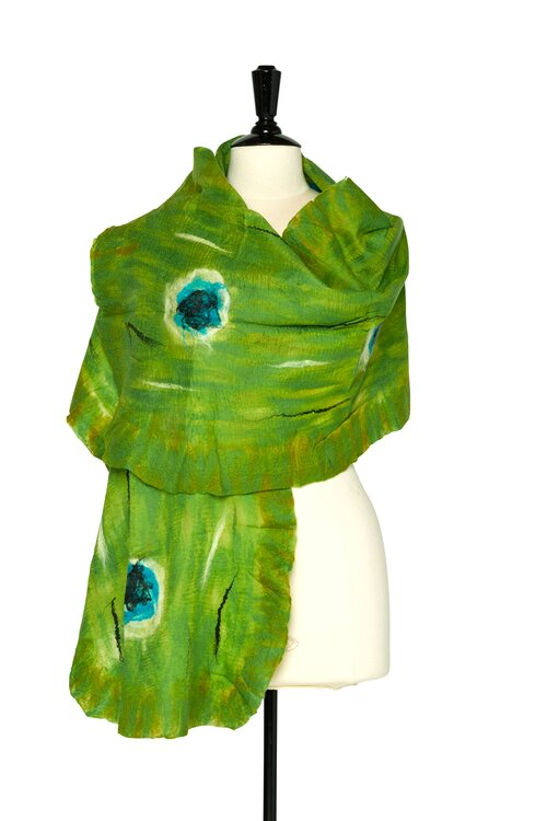 Felted shawls: TD English Rose~Lime S100-2