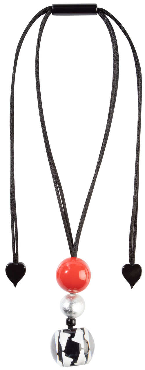 Zsiska AUDREY: 5 beads necklace, Red