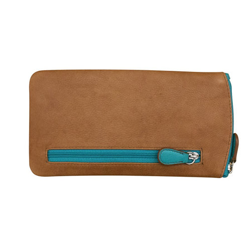 ILI NEW YORK AQUA/ ANTIQUE SADDLE EYE GLASSES CASE ZIPPER