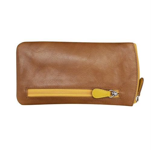 ILI NEW YORK YELLOW / ANTIQUE SADDLE EYE GLASSES CASE ZIPPER