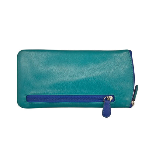 ILI NEW YORK AQUA COBALT EYE GLASSES CASE ZIPPER