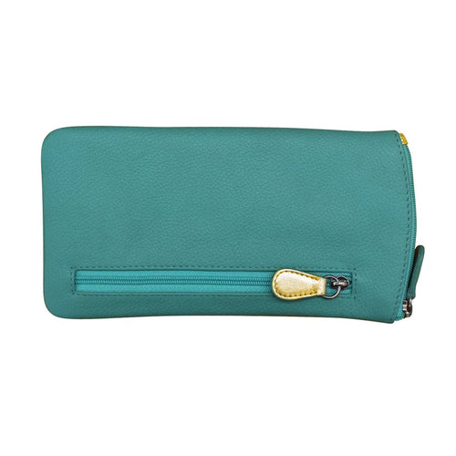 ILI NEW YORK AQUA GOLD EYE GLASSES CASE ZIPPER