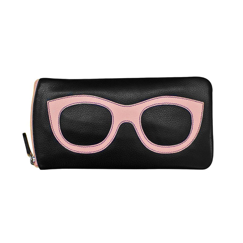 ILI NEW YORK BLACK PASTEL PINK EYE GLASSES CASE ZIPPER
