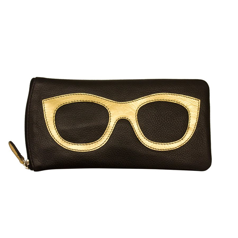 ILI NEW YORK BLACK GOLD EYE GLASSES CASE ZIPPER