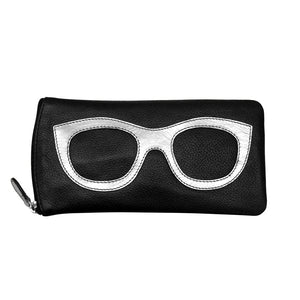 ILI NEW YORK BLACK SILVER EYE GLASSES CASE ZIPPER