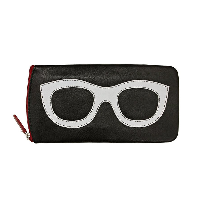 ILI NEW YORK BLACK WHITE RED EYE GLASSES CASE ZIPPER