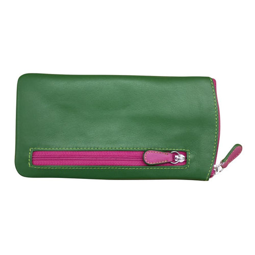 ILI NEW YORK BLACK EMERALD LEAF HOT PINK EYE GLASSES CASE ZIPPER