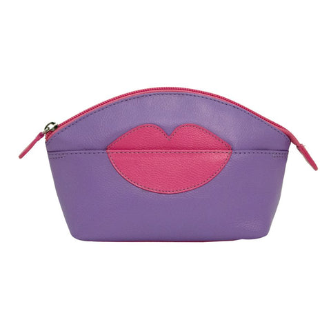 ILI NEW YORK AMETHYST HOT PINK COSMETIC POUCH WITH HOT LIPS ZIP TOP 6481