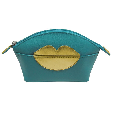 ILI NEW YORK AQUA GOLD COSMETIC POUCH WITH HOT LIPS ZIP TOP 6481
