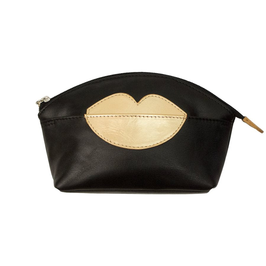 ILI NEW YORK BLACK GOLD RED COSMETIC POUCH WITH HOT LIPS ZIP TOP 6481