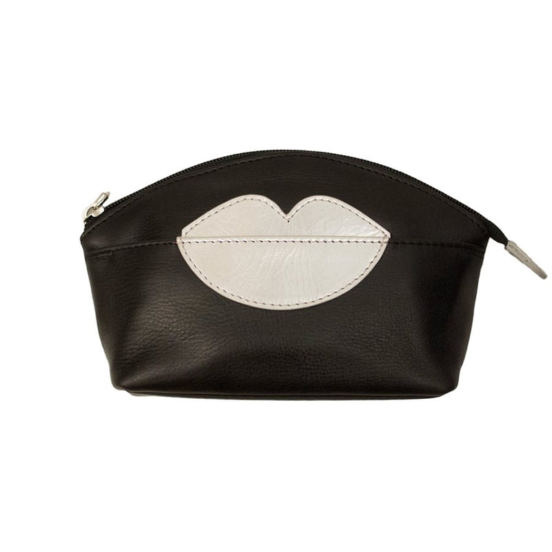 ILI NEW YORK BLACK SILVER COSMETIC POUCH WITH HOT LIPS ZIP TOP 6481