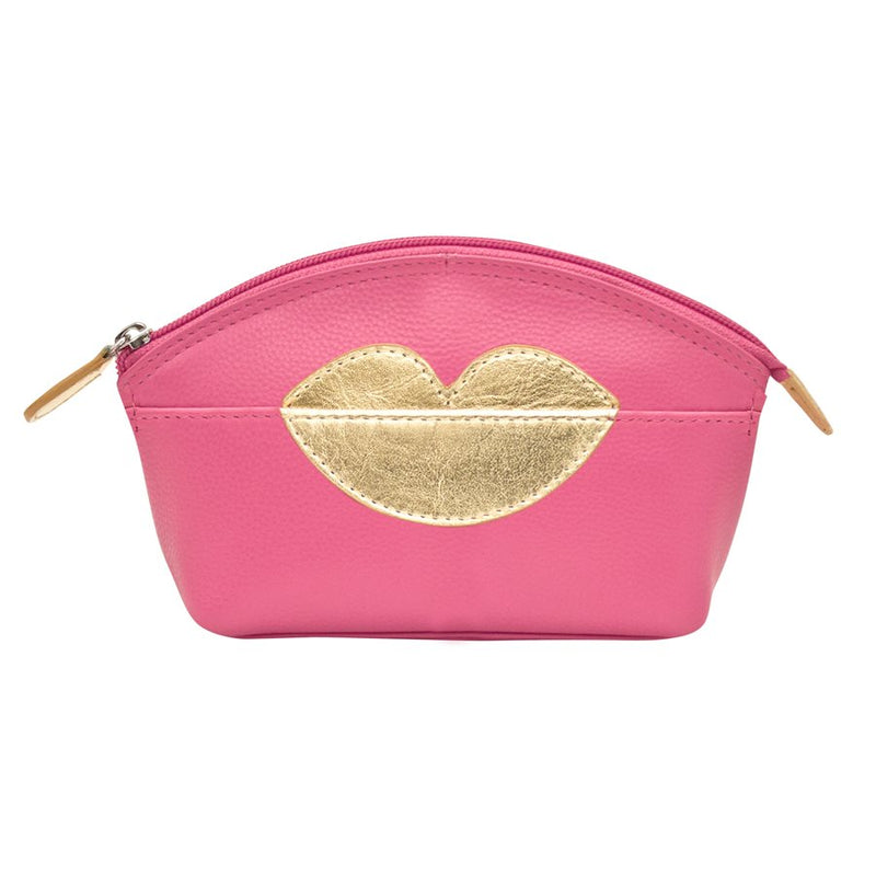 ILI NEW YORK HOT PINK COSMETIC POUCH WITH HOT LIPS ZIP TOP 6481