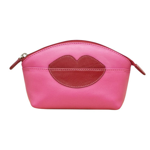ILI NEW YORK HOT PINK RED COSMETIC POUCH WITH HOT LIPS ZIP TOP 6481