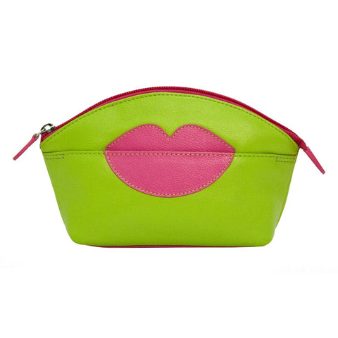 ILI NEW YORK LEAF HOT PINK COSMETIC POUCH WITH HOT LIPS ZIP TOP 6481