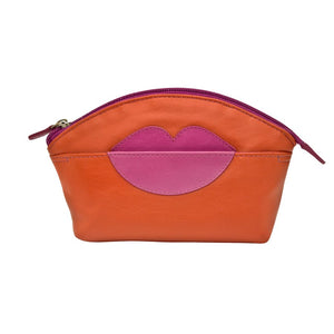 ILI NEW YORK ORANGE HOT PINK COSMETIC POUCH WITH HOT LIPS ZIP TOP 6481