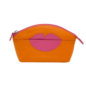 ILI NEW YORK PAPAYA COSMETIC POUCH WITH HOT LIPS ZIP TOP 6481