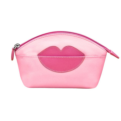 ILI NEW YORK PASTEL PINK HOT PINK COSMETIC POUCH WITH HOT LIPS ZIP TOP 6481