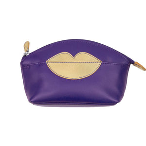 ILI NEW YORK PURPLE GOLD COSMETIC POUCH WITH HOT LIPS ZIP TOP 6481