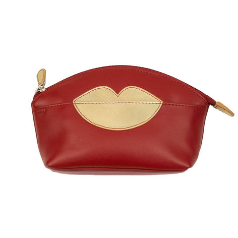 ILI NEW YORK RED GOLD COSMETIC POUCH WITH HOT LIPS ZIP TOP 6481