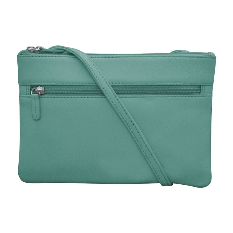 ILI NEW YORK AQUA LEATHER CROSSBODY WITH RFID BLOCKING