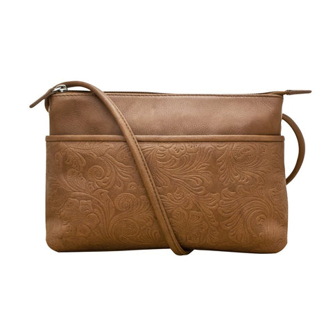 ILI NEW YORK BROWN LEATHER EMBOSSED CROSSBODY BAG 6566