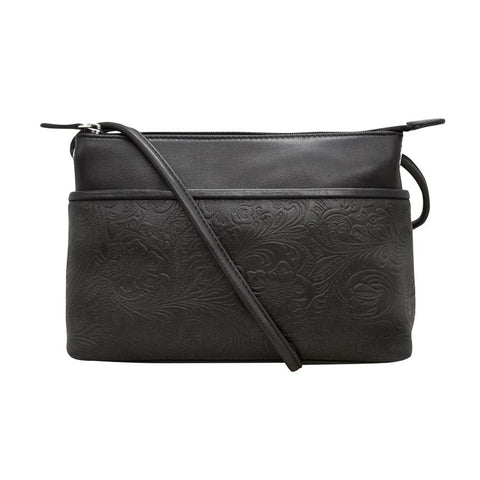 ILI NEW YORK BLACK LEATHER EMBOSSED CROSSBODY BAG 6566