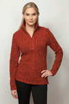 SNO SKINS Top Blister Knit Concealed zip with hi/lo hemline top 80389-20